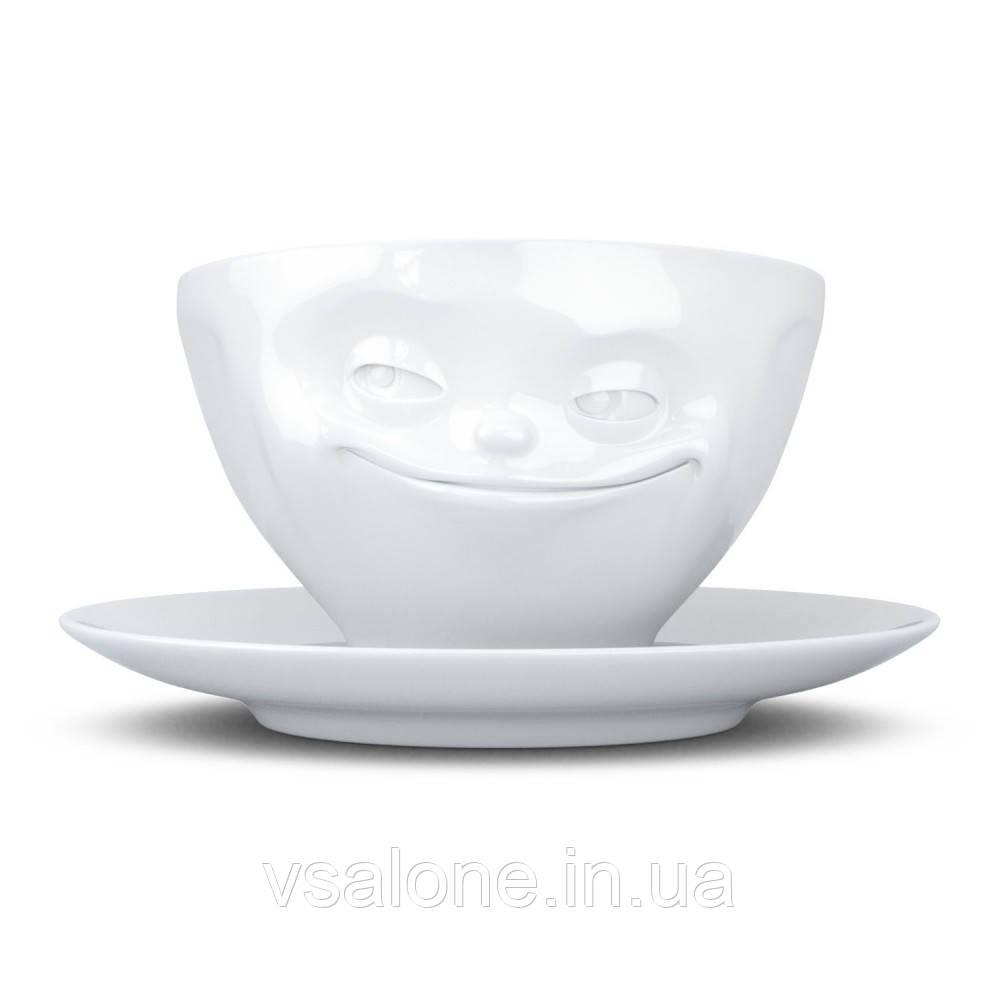"""Чашка з блюдцем Tassen Grinning """"Хитрун"""" 200мл, фарфор"""