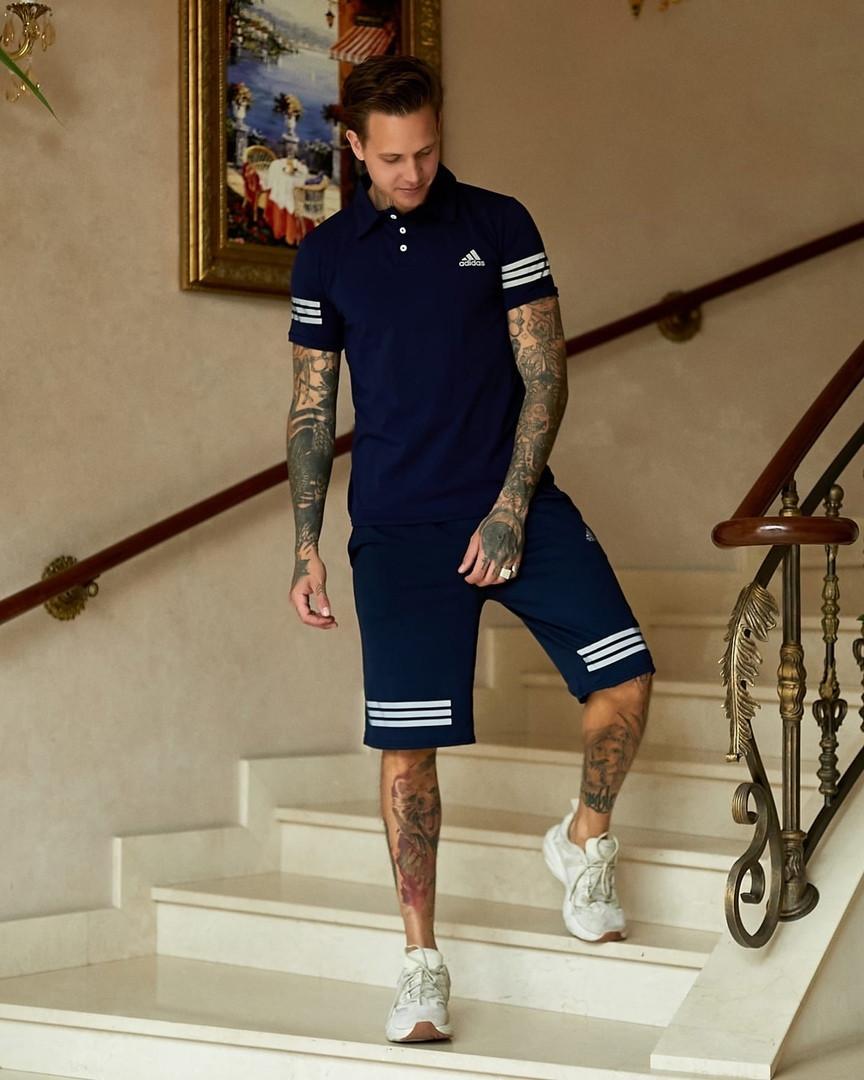 Летний мужской синий комплект. Костюм шорты синие + футболка синяя. Летний спортивный костюм.