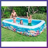 Прямоугольный семейный надувной бассейн Intex 58485 (305 x 183 x 56 см) Рыбки