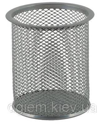 Подставка для ручек круглая металлическая серебристая