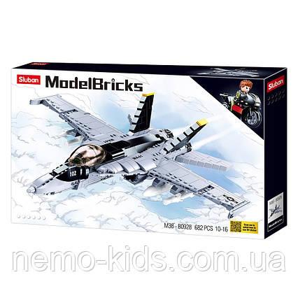 Конструктор SLUBAN  военный самолет 41,4 см, 682 деталей. Аналог Лего истребитель