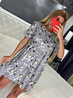 Платье мини женское летнее красивое свободного кроя в цветочный принтSmol5938