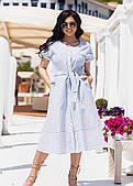 Женское платье из льна в полоску (батал)