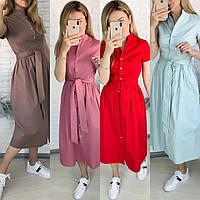 Женское летнее коттоновое платье-миди. Размер: 42-44, 46-48, 50-52. Цвет: фреза, красный, светлая мята, кофе