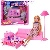 Кукла DEFA 8437-BF 29см, гостиная, диван, посуда, 2вида, в кор-ке, 36-32, 5-8, 5см