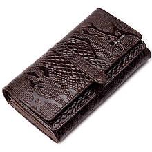 """Вместительный женский кошелек Karya 1175-015 кожаный коричневый """"под рептилию"""""""