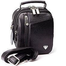 Мужская маленькая сумка барсетка Karya 0344-45 кожаная черная