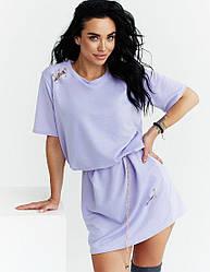 Женское сиреневое платье-футболка оверсайз короткое