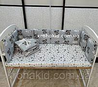 Защита (бортики) в детскую кроватку на 4 стороны из 12 подушек - 120*60 см / бампер в детскую кроватку