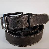 3035 Ремень мужской кожаный джинсовый чёрный