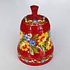 Колокольчик красный с петриковской росписью , дерево .