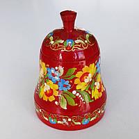 Колокольчик красный с петриковской росписью , дерево ., фото 1