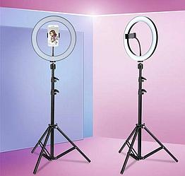 Кольцевая лампа LED 26 см со штативом 200см для профессиональной съемки + настольный штатив