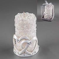 """Красивая свадебная свеча """"Два сердца"""" (арт. Y-012Q)"""