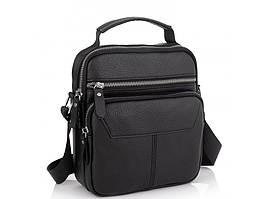 Кожаная черная сумка мужская через плечо Tiding Bag A25F-9