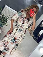 Женское шикарное платье миди в цветочный принт