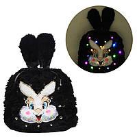 Рюкзак-светяшка детский, с мехом 'Зайка', черный (BG0054)