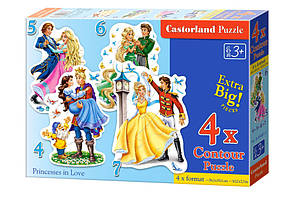 Пазлы 4 в 1 'Влюблённые принцессы' Castorland (В-04461)
