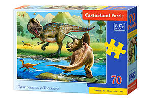 Пазлы 'Тиранозавр и трицератопс ', 70 элементов Castorland (B-070084)