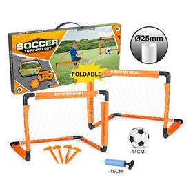 Футбольні ворота MR 0385 (12шт) пластик, 2шт, размер64-48-48см,складні,м'яч,насос,кор,56-27-5,5 см