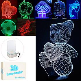 Нічник 168-A1-2-5-7-11-13-15-17 (30шт) 23см, світло 3D, 8видов, від мережі, в кор-ке, 24,5-17-6см