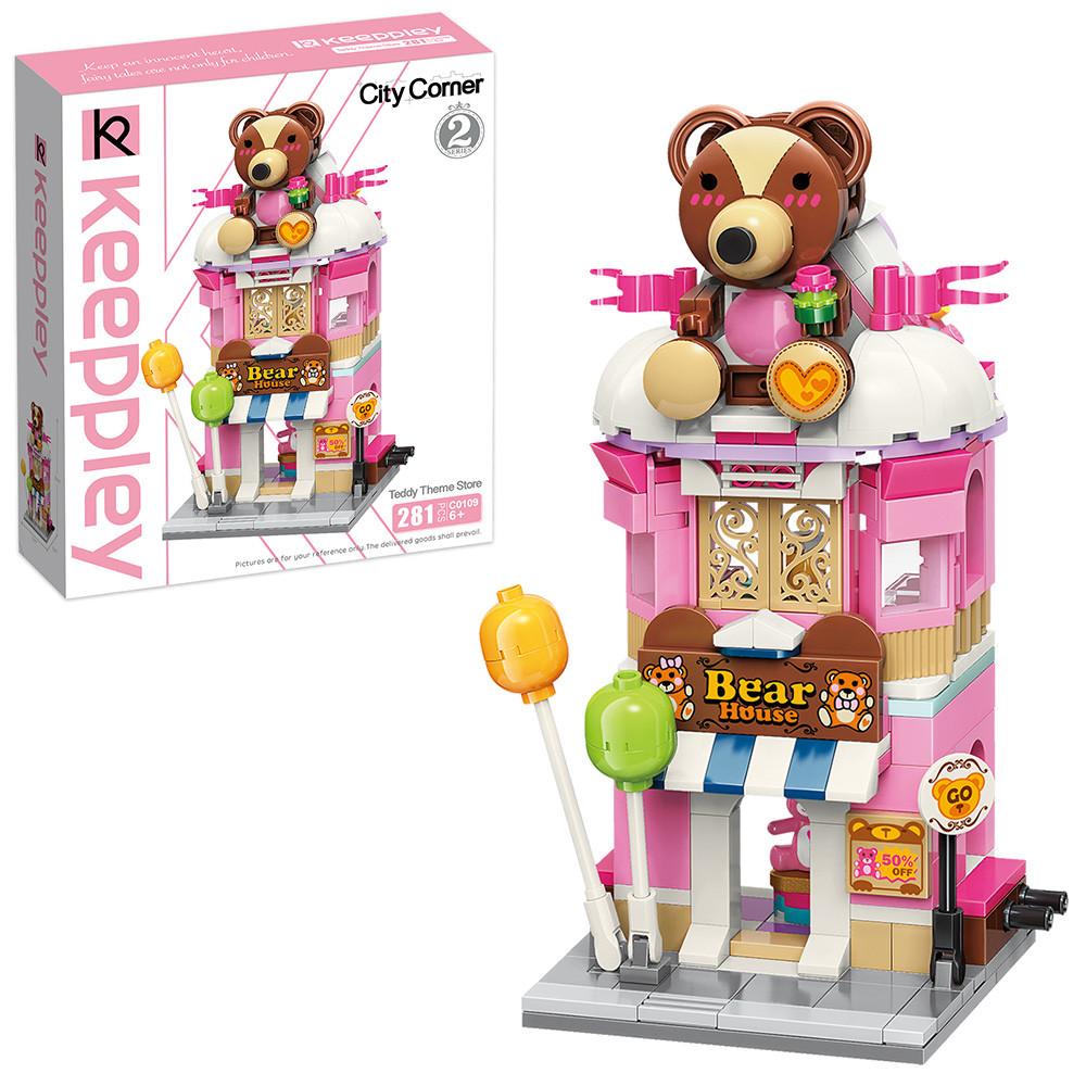 Конструктор магазин игрушек домик медвежонок для детей 9-8-18см, 281 деталь C0109 (36шт)