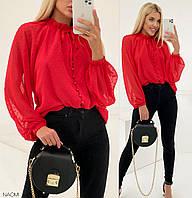 Стильная модная блуза из шифона с длинными рукавами