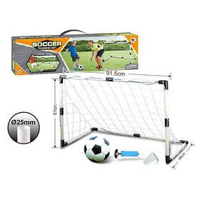 Футбольні ворота MR 0381 (24шт) пластик, розмір 91-50-63див,сітка, м'яч, насос, в кор-ке,56-16-6,5 см