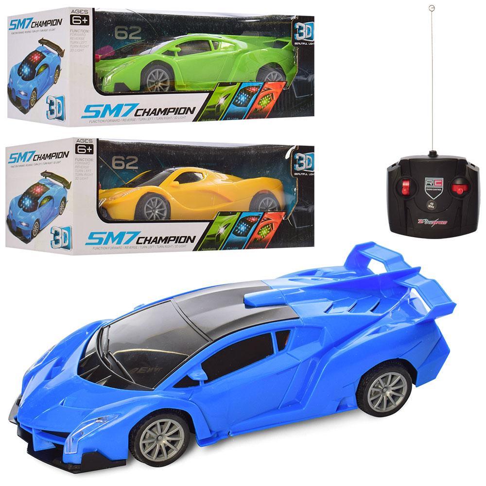 Машина 929-3-5 (36шт) р/у, 22см,1:18, 3Dсвет,рез.кол,2вида(микс цвет),на бат-ке,в кор-ке,26-9,5-11см