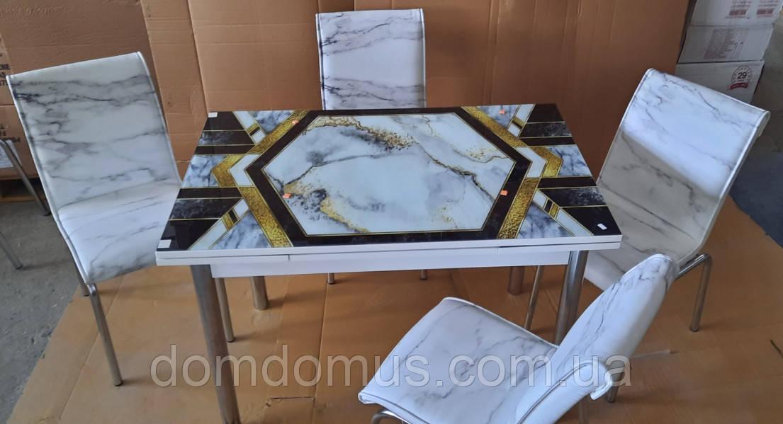 """Комплект обеденной мебели """"Фигурный мрамор"""" (стол ДСП, каленное стекло + 4 стула) Mobilgen, Турция"""