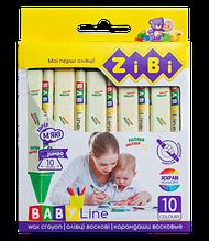 Карандаши восковые JUMBO, 10 цветов, трехгранные, BABY Line