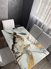 """Комплект обідній меблів """"Beyaz"""" (стіл ДСП, гартоване скло + 4 стільця) Mobilgen, Туреччина"""