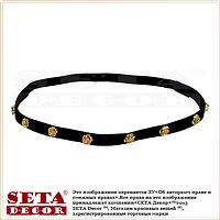 Чёрная повязка-резинка на голову с золотистыми розочками в ретро стиле.