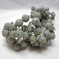 Ягоды для декора, калина в сахаре ,  серебро , 20шт