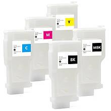 Перезаправляемые картриджи Ocbestjet для плоттеров Canon TM-200/300 с чипами PFI-120/320 (5 шт. по 300 мл)
