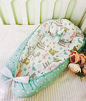 Кокон гнездышко для новорожденного + подушка внутренний размер 70х45см