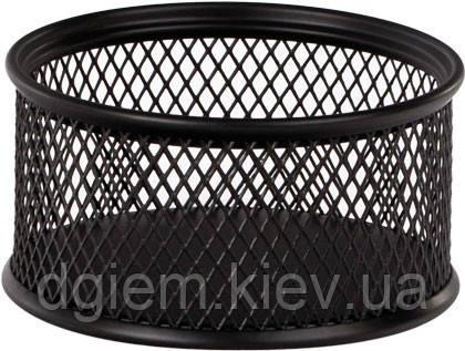 Подставка для скрепок круглая, металлическая черная