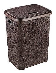 Корзина коричневая для белья АЖУР с крышкой, с ручками (44*36*56 см)  67 л., Elif Plastik Турция Е-322