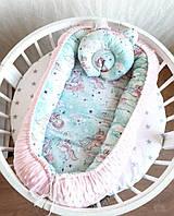 Кокон гнездышко для новорожденного + подушка + плюш внутренний размер 70х45см