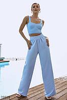 Голубые брюки свободного кроя S,M,L