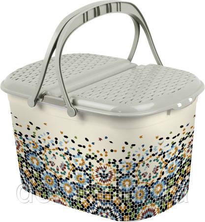 Корзина для пікніка з малюнком Мозаїка (51*35*28 см), Elif Plastik Туреччина Е-355
