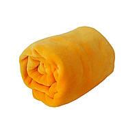 Плед велсофт для новорожденного желтый 90х100см, покрывало в кроватку, в роддом, в коляску