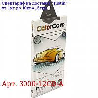 """Олівці 12 кольорів шестигранні d = 4, 0,  ColorCore (new),  E3000-12CB-A,  TM """"Marco"""""""