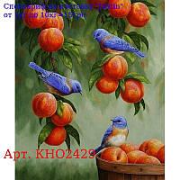 """Набір для розпису по номерам,  Тварини,  птахи """"Дрозди і персики"""" 30х40см"""