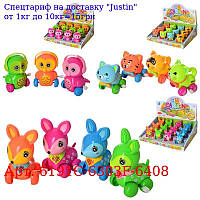Заводна іграшка 6191C-6303F-6408 тварину 9см,  3віда,  12шт (3цвета) в дисплеї,  32-25-10см