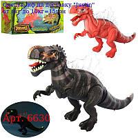 Динозавр 6630 45см,  світло,  ходить,  подвіж, челюсті,  2віда,  на бат-ке,  в кор-ке,  27-14-10, 5смд