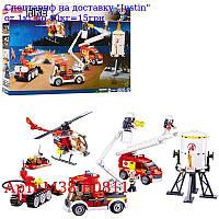 Конструктор SLUBAN M38-B0811 пожежної,  транспорт 5шт,  фігурки,  490дет,  в кор-ке,  47, 5-29-7см