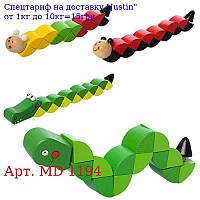 Дерев'яна іграшка Змійка MD 1194 4віда,  в кульку,  20-2-3см
