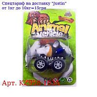 Машинка KZ958-103A інер-я,  вовк,  6см,  на аркуші,  11-16, 5-5см