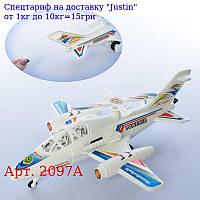Літак 2097A заводний,  32см,  їздить,  обертається гвинт,  в кульку,  32-9-7см
